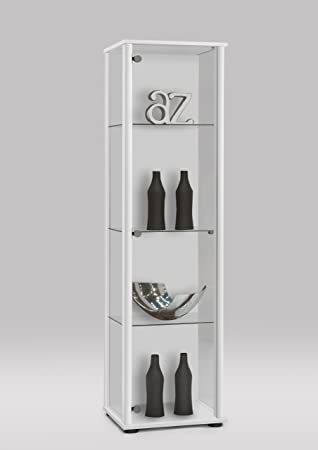 SHOWCASE Glass Display Shelf Cabinet Unit In White Colour By DMF