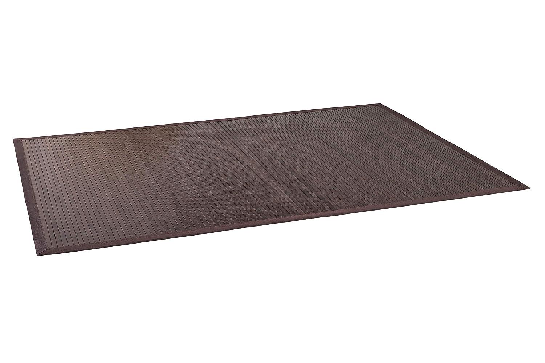 DE-Commerce Bambusteppich WENGE I Küchenteppich Bettumrandung Läufer Bettvorleger Holzteppich Vorleger I Hochwertiger Teppich Wohnzimmer Dunkelbraun 12 Maße I XXL Bordüre 240 x 340 cm