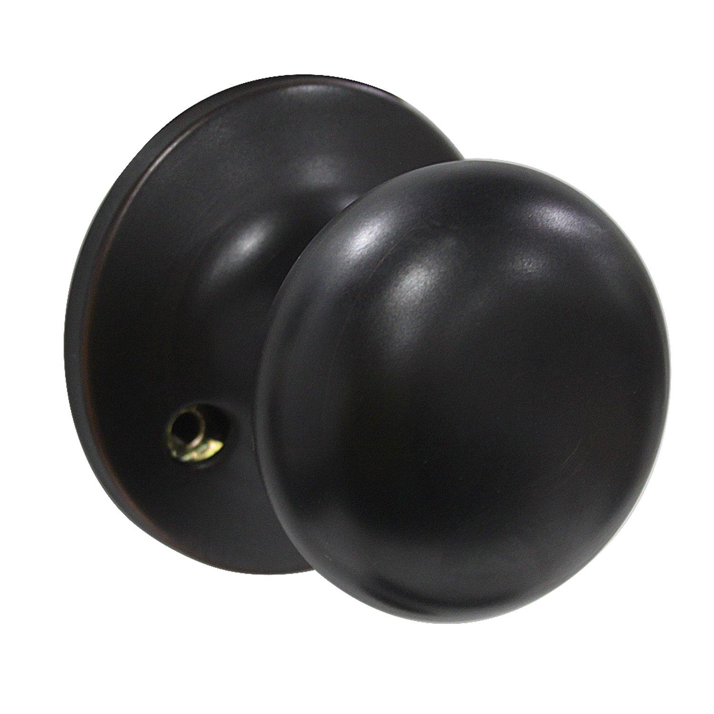 Dummy Door Knobs Set Interior Room Door Handles Lock Set Ball Style Oil Rubbed Bronze Finish Non-Turning Lock