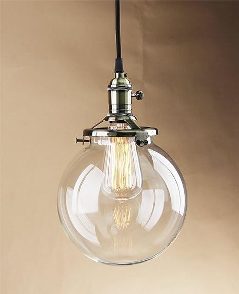 buyee modern industrial clear glass globe loft pendant lamp retro