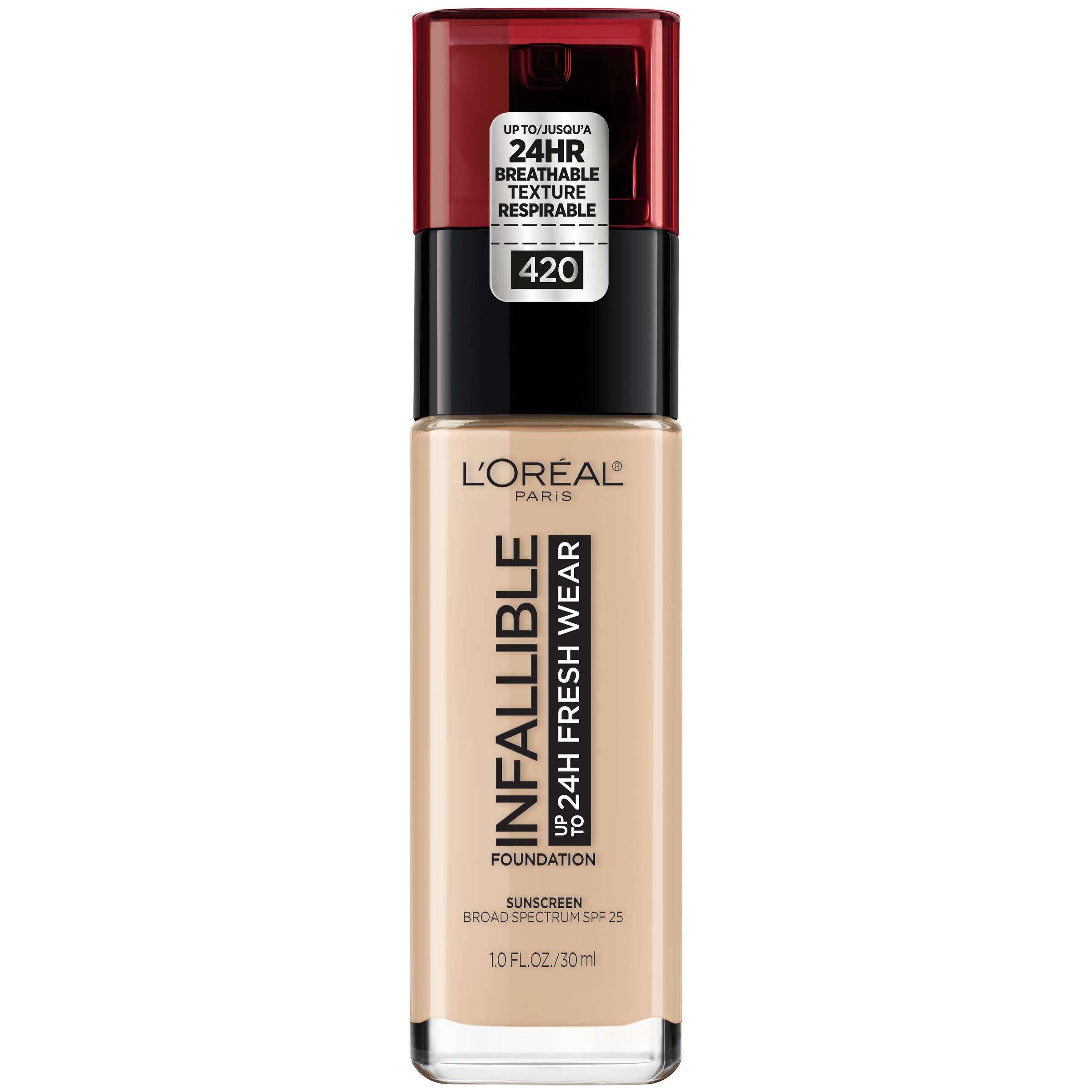 ede52b2d54a L'Oréal Paris Makeup Infallible up to 24HR Fresh Wear Liquid Longwear  Foundation, Lightweight, Breathable, Natural Matte Finish, Medium-Full  Coverage, ...