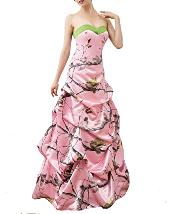 iLovewedding Pink Camo Wedding Dresses Backless Ruched Satin Prom ...