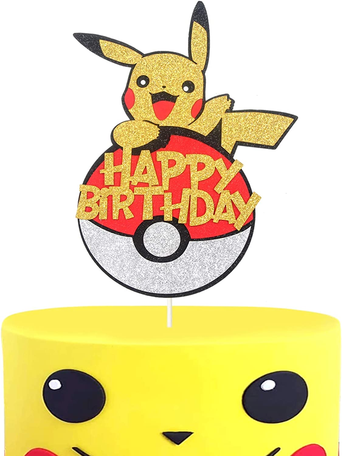 LILIPARTY Hello Pikachu Happy Birthday Cake Topper Cute Pokemon Inspired Poke Ball Cake Decor, Trainers Themed Party Decoration, Glitter Kid Birthday Party Supplies