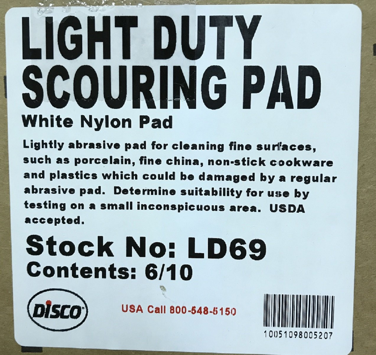 DISCO LD69 Light Duty Scouring Pad, 6'' x 9'' size, 6/10 pack, 60 Total