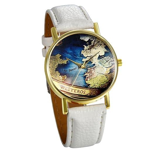JewelryWe Reloj de Pulsera de Mujer Mapamundi Antiguo, Correa de Cuero Blanco Retro Vintage, Azul Reloj Cuarzo Analogico Buen Regalo Para Mujeres: ...