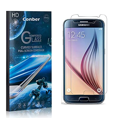 Conber (2 Pack) Screen Protector for Samsung Galaxy S6, [Scratch-Resistant][Anti-Shatter][Case Friendly] Premium Tempered Glass Screen Protector for Samsung Galaxy S6: Baby