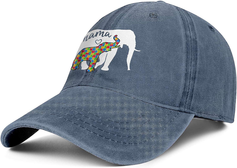 World Autism Awareness Day Mama Elephant Unisex Baseball Cap Soft Fit Running Hats Adjustable Trucker Caps Dad-Hat