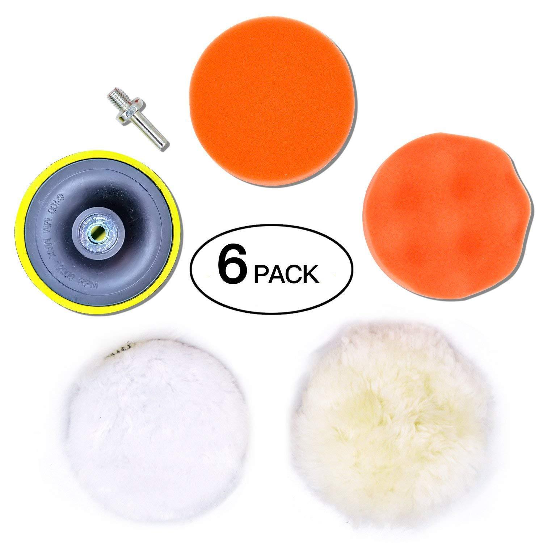Zoiibuy 6Pcs Tamponi per Lucidatura Kit di spugne lucidanti per Cerati Kit Lucidatura Pad Spugna con Adattatore per Trapano M10 per Smerigliatura, lucidatura, Ceratura, Sigillatura