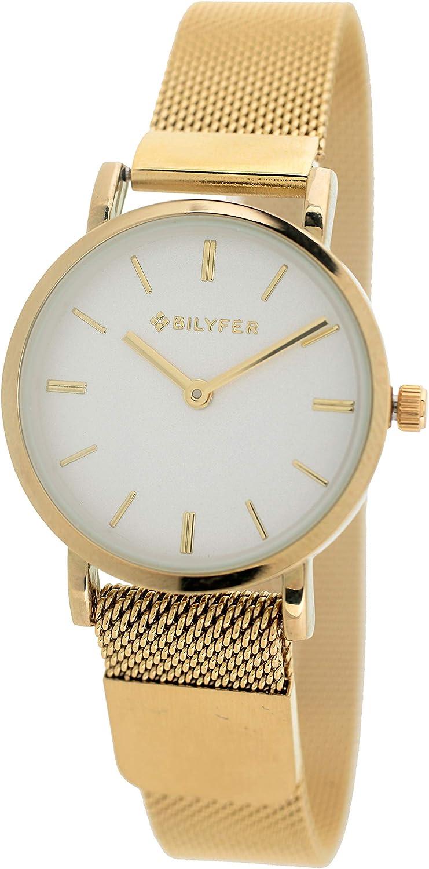 Reloj Bilyfer para Mujer con Correa Dorada y Pantalla en Blanco 3P567-D