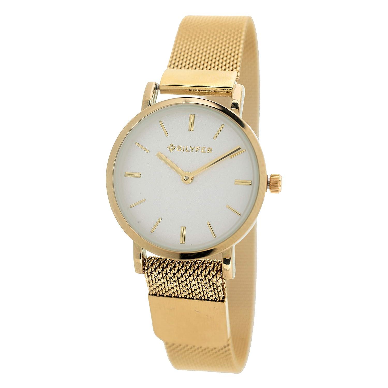 Reloj Bilyfer para Mujer con Correa Dorada y Pantalla en Blanco 3P567-D: Amazon.es: Relojes