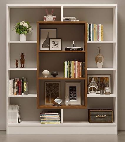 Homidea Venus Libreria – Scaffale – Scaffale da Ufficio – Divisorio per  Soggiorno/Ufficio in Design Moderno (Bianco/Noce)