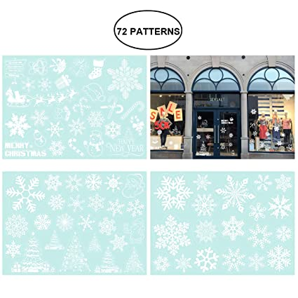 amosfun christmas window decorations snowflake window clings decal stickers removable pvc wall window door 72 pcs - Christmas Window Decorations Amazon