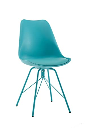 Design Furniture Eames Style Upholstered Dining Chair Set of 4, Modern Kitchen Dining Room Side Chair with Cushion Seat Metal Leg Turquoise