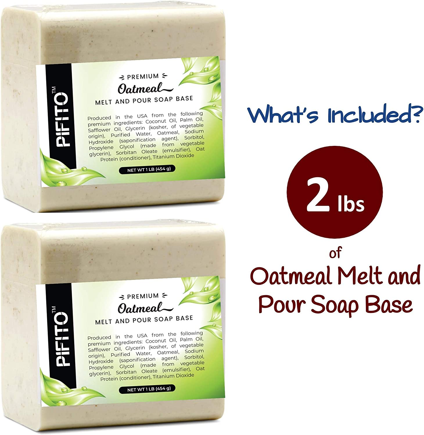 Pifito Oatmeal Melt and Pour Soap Base (2 lb) │ Premium 100% Natural Glycerin Soap Base │ Luxurious Soap Making Supplies: Beauty