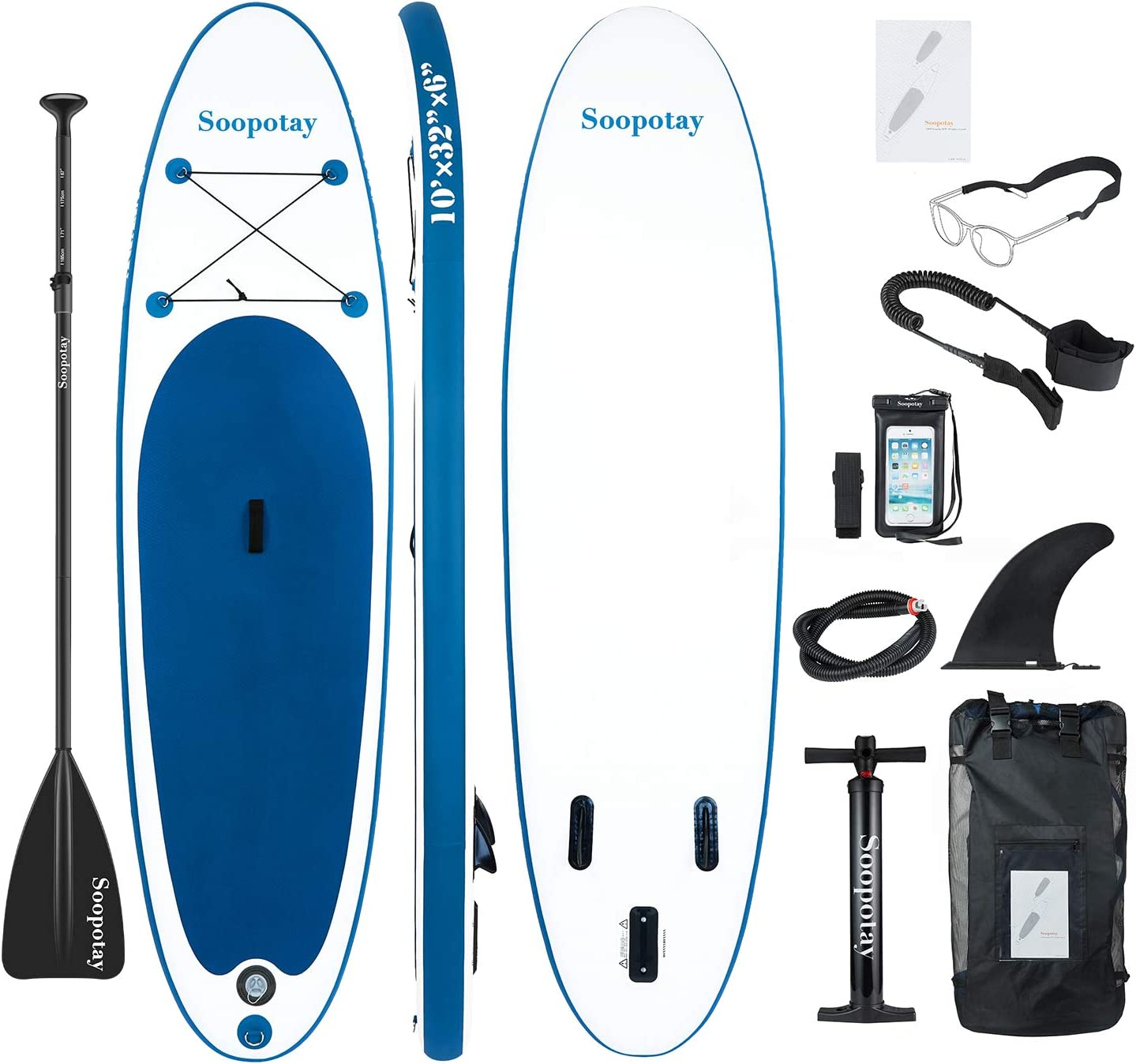 SOOPOTAY Inflatable SUP Stand Up Paddle Board, Inflatable SUP Board, iSUP Package with All Accessories All Round-Primary-Navy Blue-10 x 32 x 6