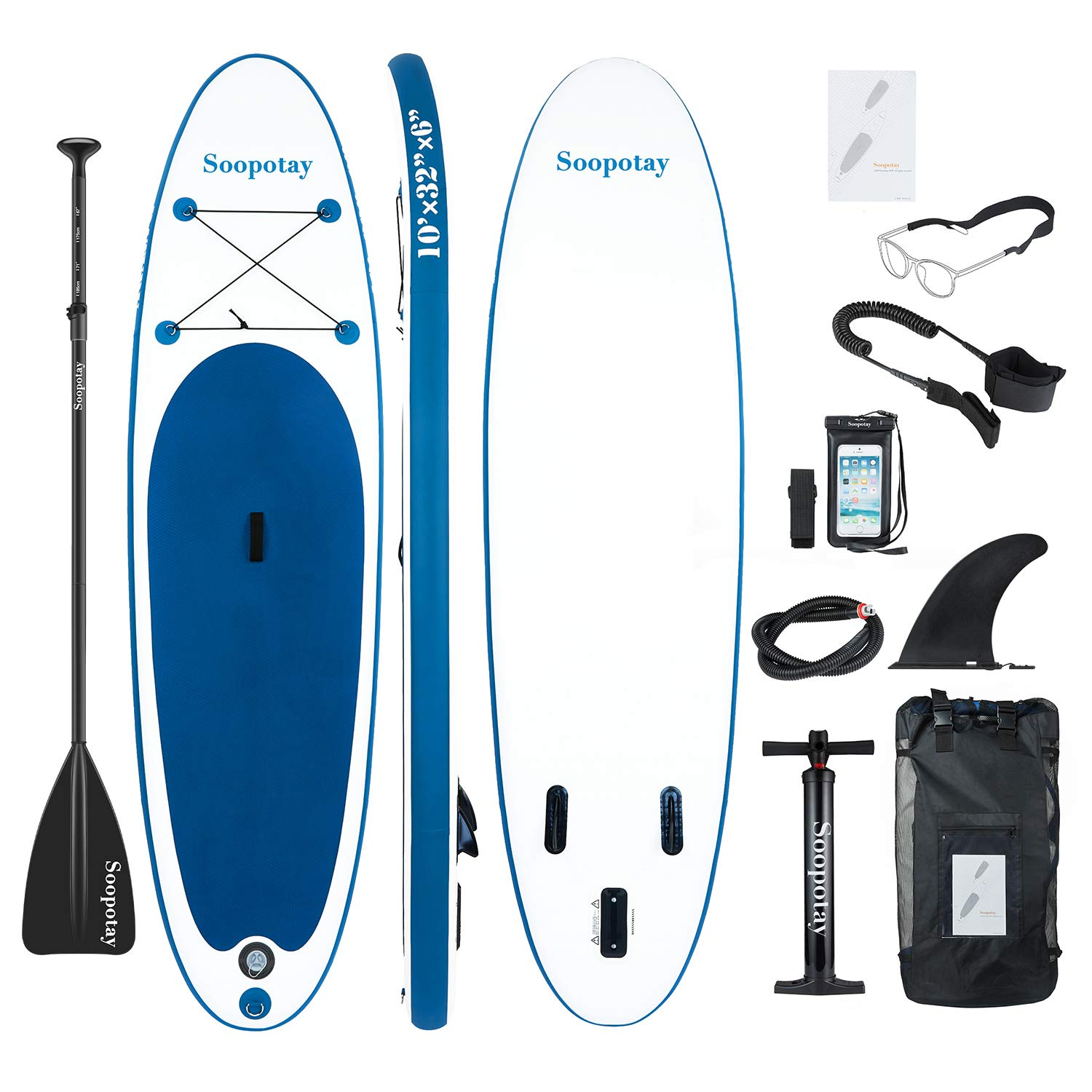 Inflatable SUP Stand Up Paddle Board, Inflatable SUP Board, iSUP Package with All Accessories (All Round Primary-Navy Blue-10' x 32'' x 6'') by Soopotay (Image #1)