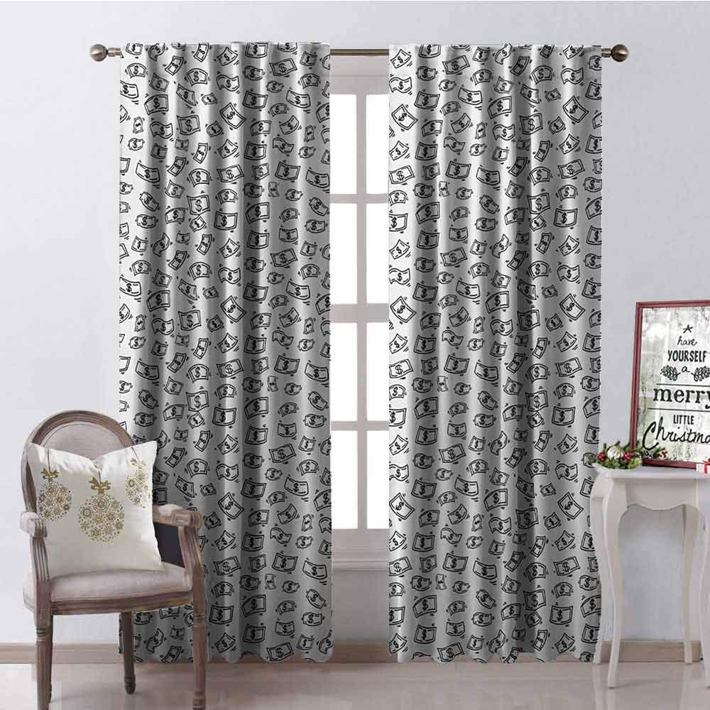 GUUVOR Money Wear-Resistant Color Curtain Sketch Style Monochrome Raining Dollar Bills Cash Money Flying Bank Notes Design Waterproof Fabric W84 x G108 Inch Black White by GUUVOR