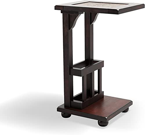 Furniture of America Ives End Table with Magazine Rack, Antique Oak