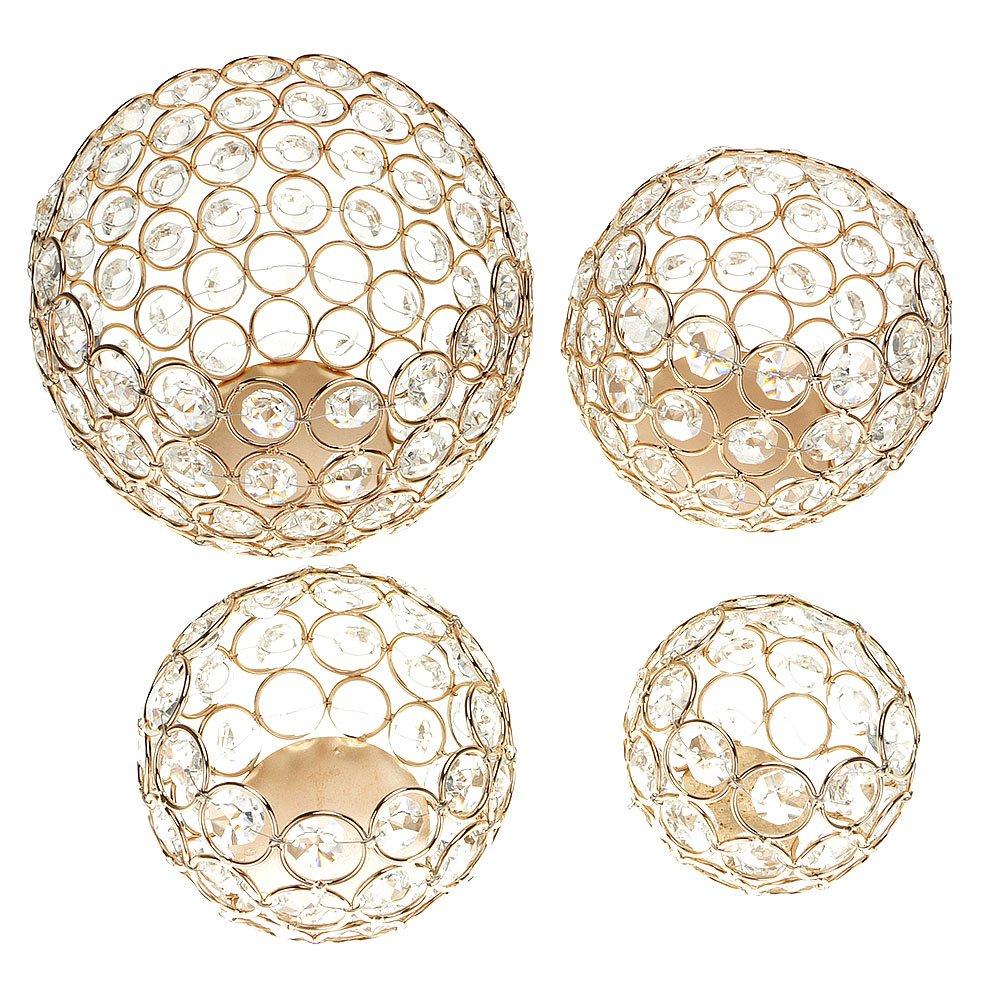 GGG bougeoir de perles de cristal pour soir/ée de mariage Bougeoir D/écor Lampe Boule Accueil R/étro Nouveau 8cm Or