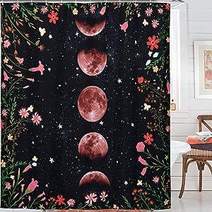 Yokii Black Boho Floral Fabric Shower Curtain, Moonlit Garden Vines Twisting into Moon Phrase Starry Night Sky Bathroom Shower Curtain Sets Vintage Hippie Bathroom Decor (72 x 72, Black)