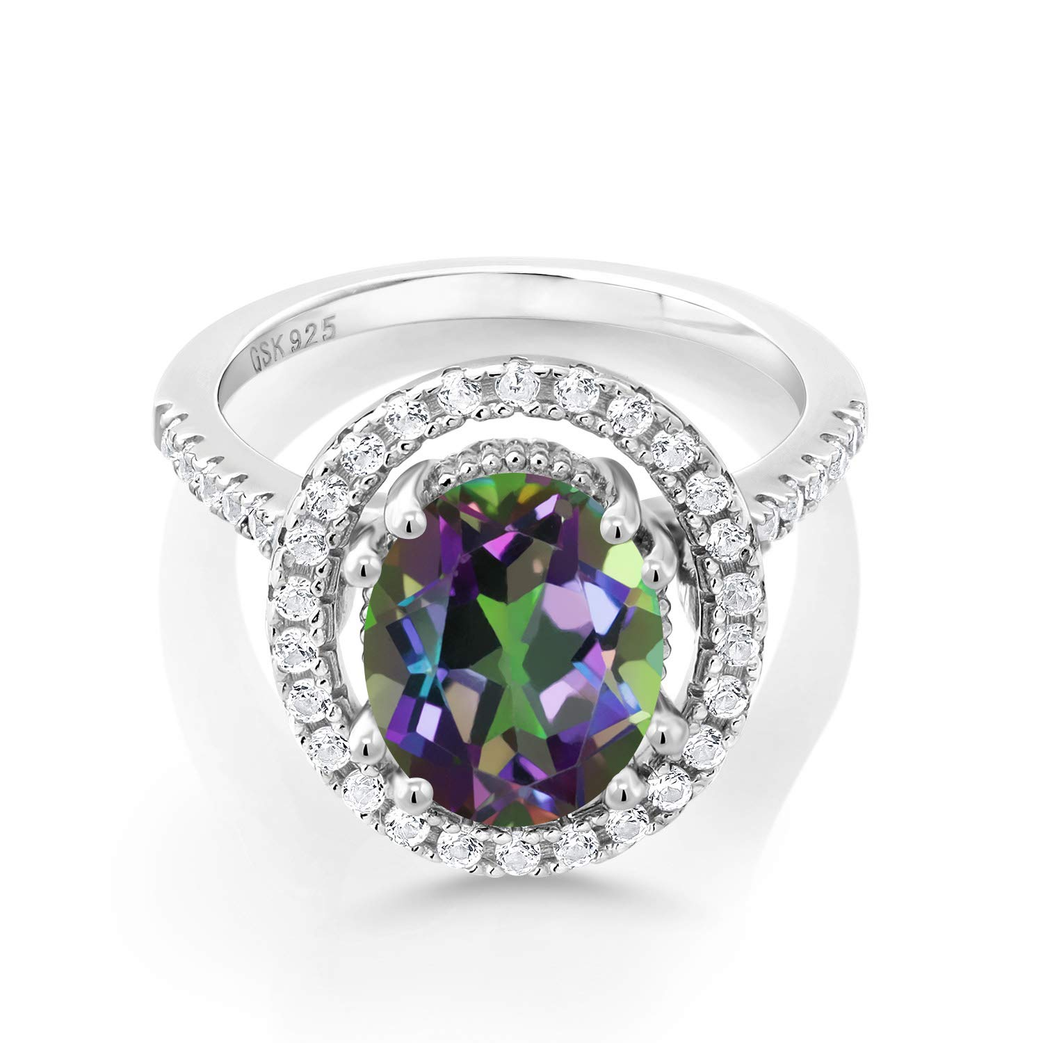 Gem Stone King 4.10 Ct Oval Green Mystic Quartz White Created Sapphire 925 Sterling Silver Ring