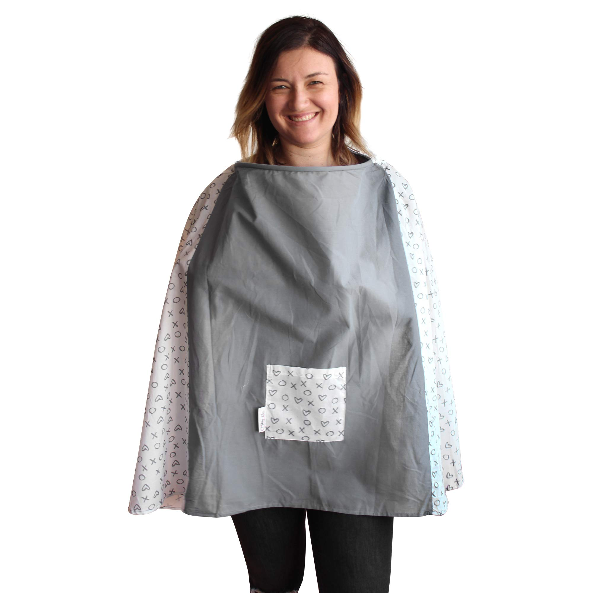 The New Full Coverage 360 Nursing Poncho,Nursing Cover for Breastfeeding,Nursing Cover with Wire,100% Breathable Lightweight Cotton,Multi-Use Breastfeeding Cover (White & Gray XOXO)