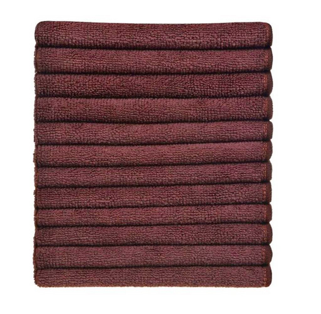 Brown Simplife wholesale 12 Pack Microfiber Cleaning Cloths Streak Free Microfiber Dish Cloths Kitchen Towels Cloths Washcloths Rags 12Inchx12Inch