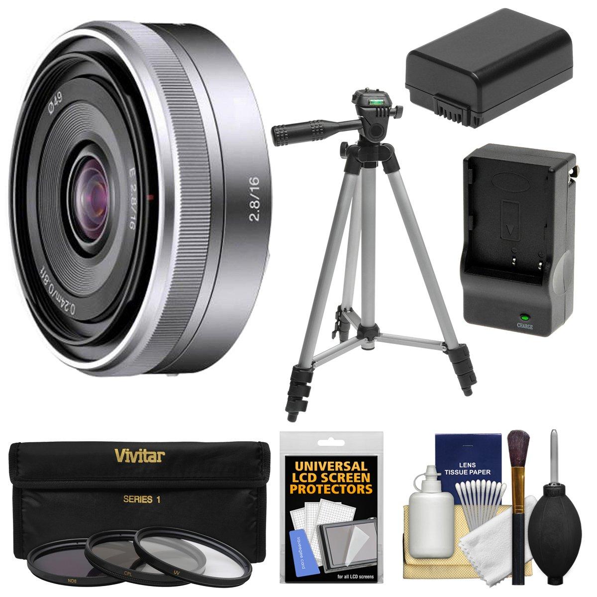 Sonyアルファe-mount E 16 mm f / 2.8レンズwith 3フィルタ+三脚+ np-fw50バッテリー&充電器+キットfor a7 , a7r, a7s Mark II、a5100、a6000、a6300カメラ   B00LUUO050