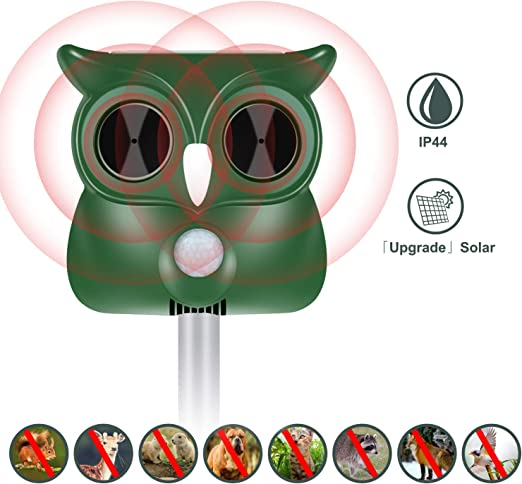 Repelente de gatos ultrasónico solar impermeable de frecuencia ajustable para alejar gatos, perros, ratas, pájaros, ardillas y zorros apto para jardín, césped, patio, granja (1 paquete), AW-911: Amazon.es: Jardín