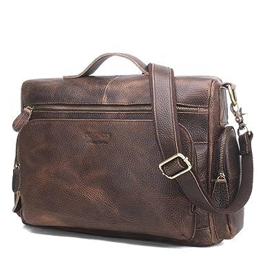 aaf8a5ef1d431 MERRYHE Herren Klassische Aktentasche Crazy Horse Leder Messenger  Handtaschen Hohe Qualität Schultertasche Für 12 quot  Portable