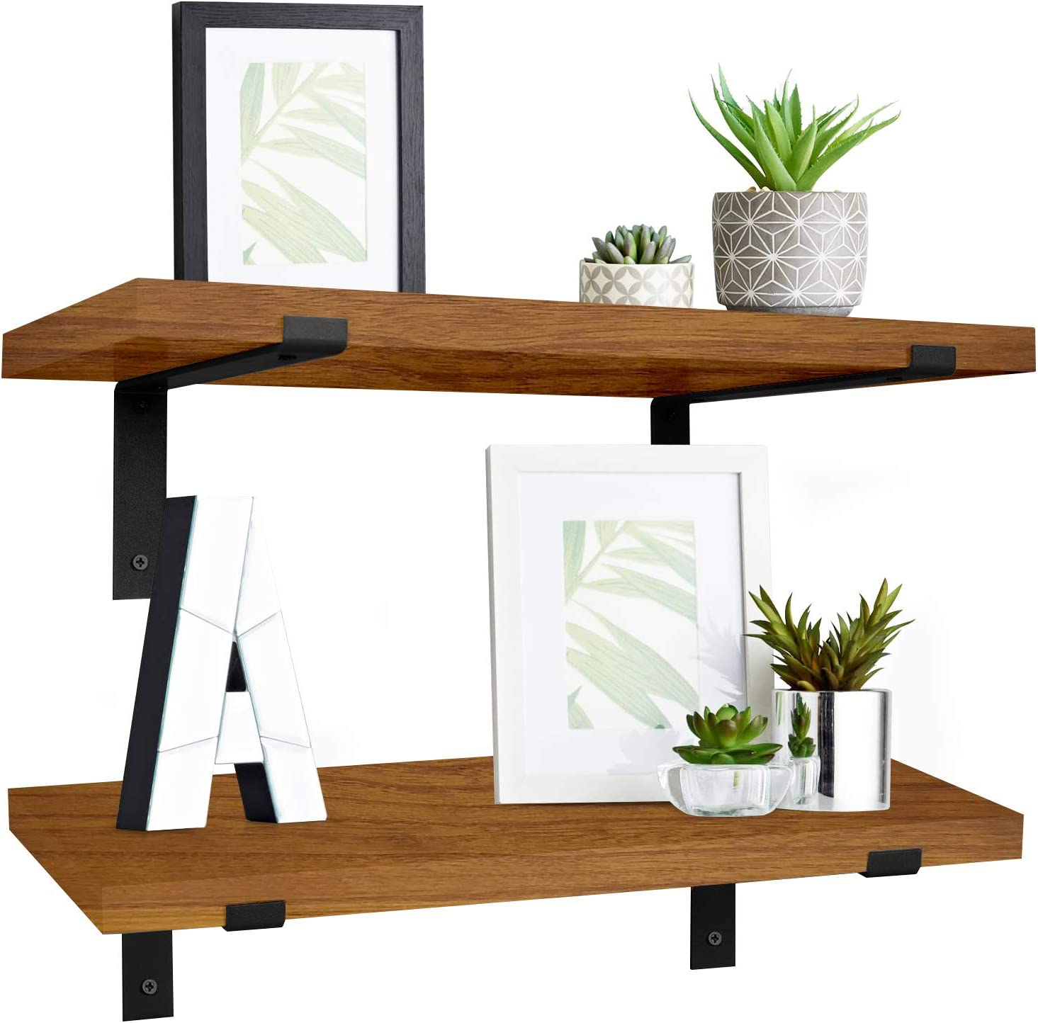 Floating Shelves for Wall Decor | Set of 2 Modern Rustic Wall Shelves, Elegant Wall Decorations for Living Room, Bathroom, or Bedroom | Farmhouse Aesthetic Room Decor DIY (Rustic Wood) | by NEATLY
