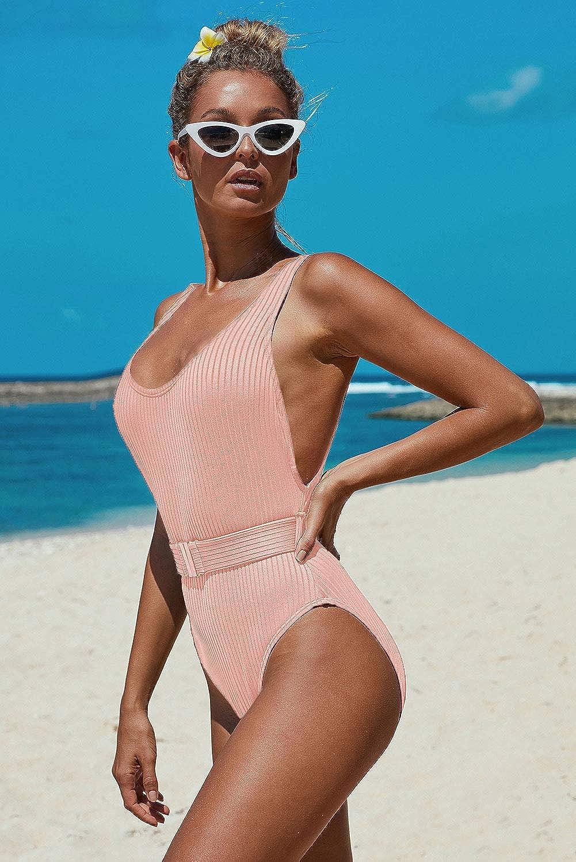 PRETTYGARDEN Womens One Piece Tummy Control U Neck Backless Swimsuits Bathing Suit Swimwear Beachwear