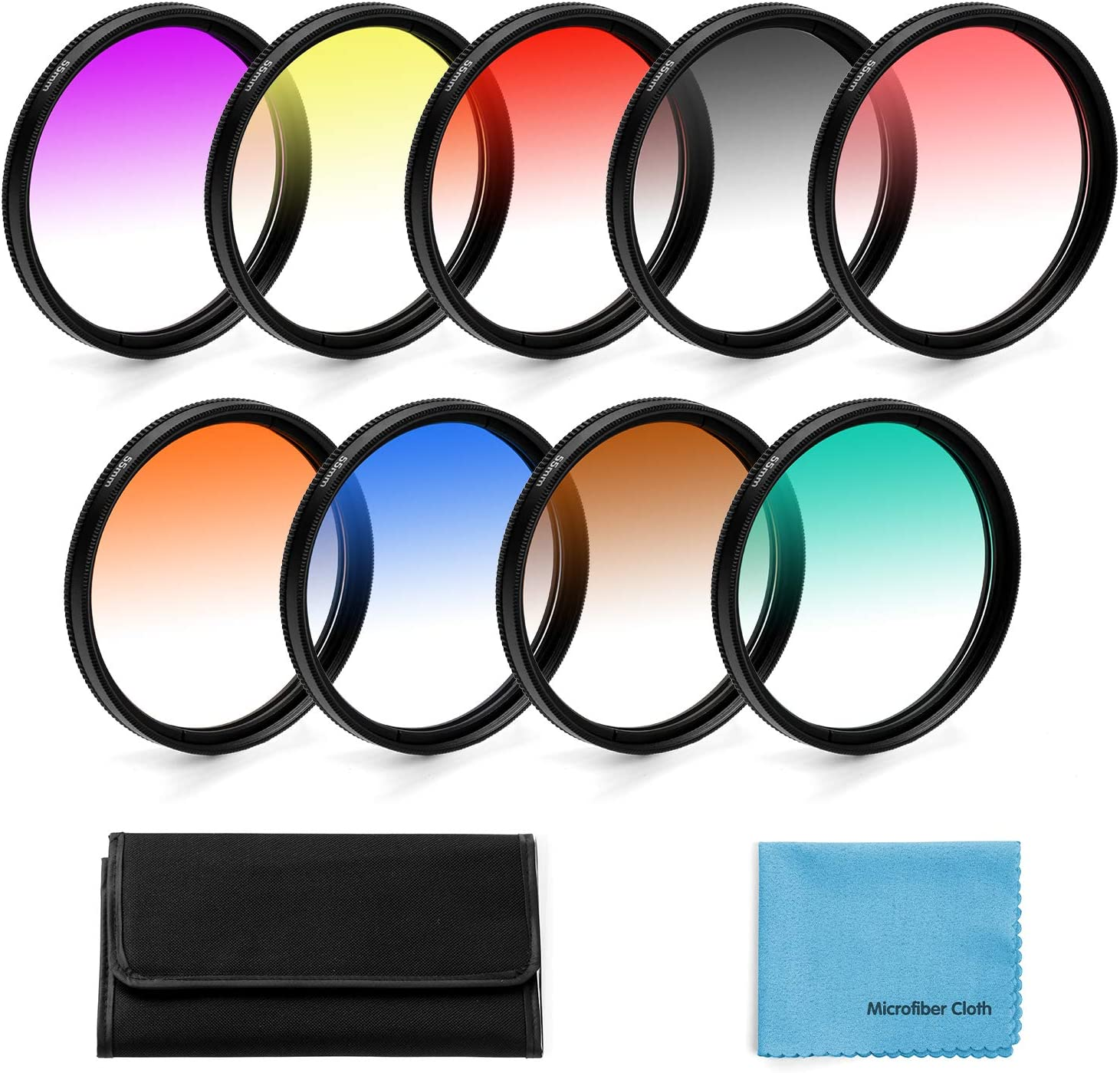 Lens Cleaning Cloth 62mm Graduated Color Filters Kit 9 Pieces Gradual Colour Lens Filter Kit Set Accessory for Canon Nikon Sony Pentax Olympus Fuji DSLR Camera Lens Filter Pouch
