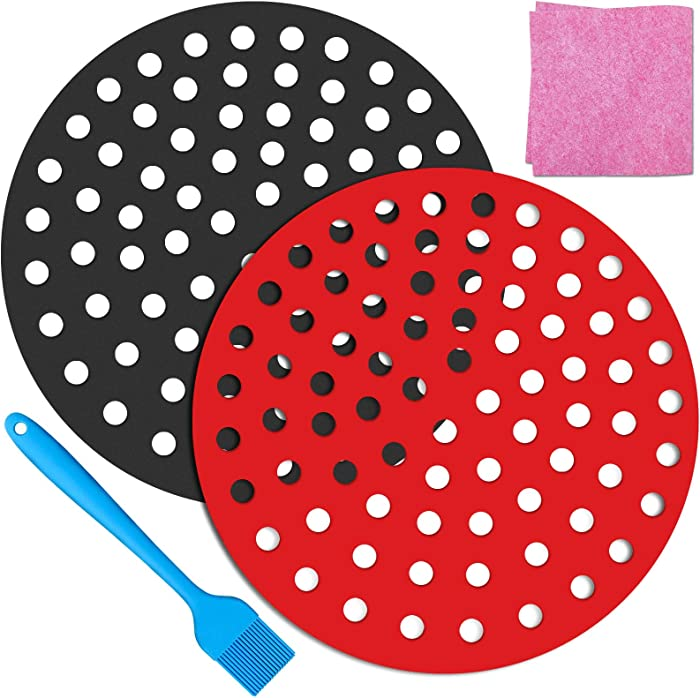 Air Fryer Liners, HEISENLIN 2 Packs 8 Inch Reusable Round Non-Stick Silicone Air Fryer Basket Mats, Air Fryer Accessories for Chefman Gowise Ninja NuWave Gourmia and More, Dishwasher Safe
