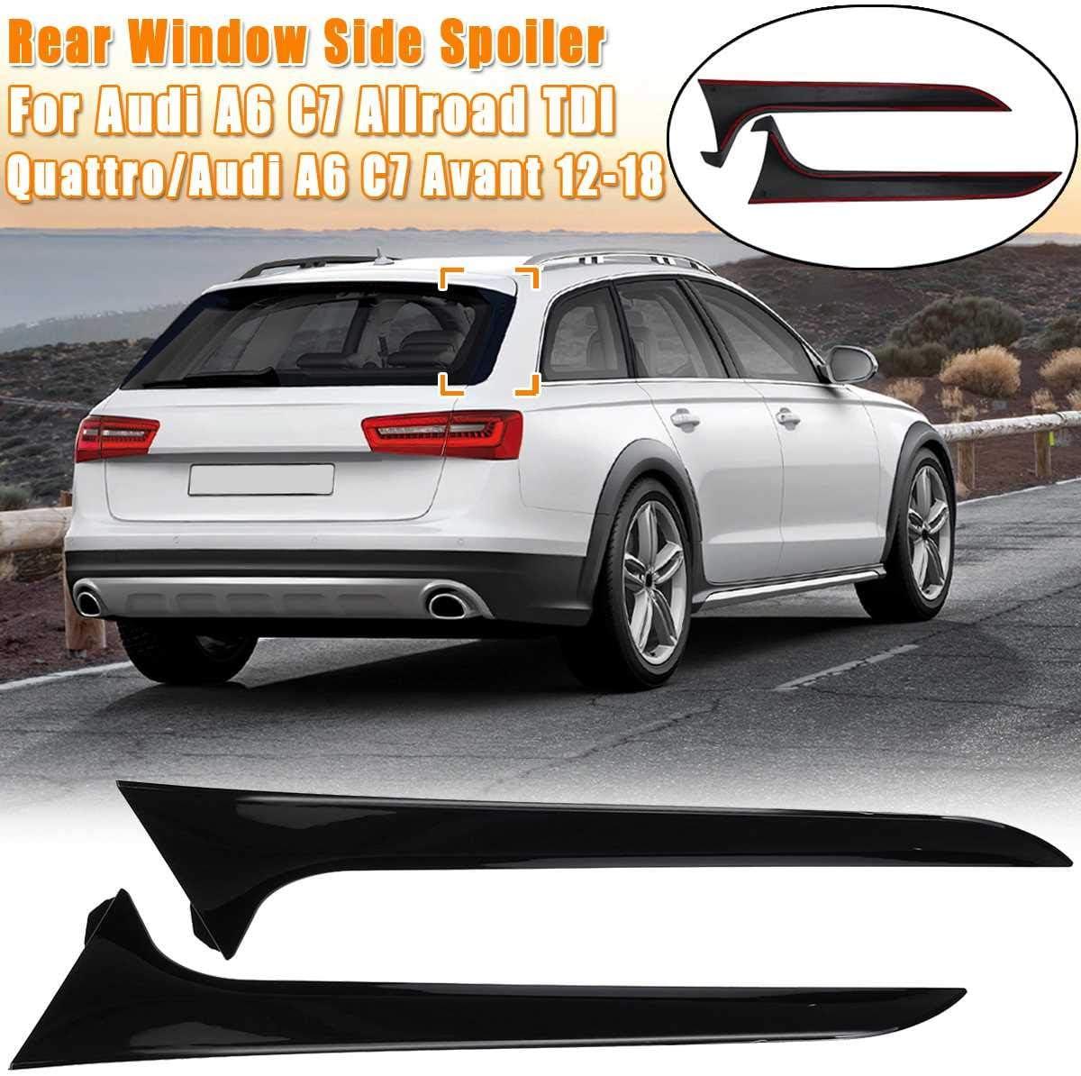 Rear Behind Window Spoiler Side Strip F/ür A6 C7 Heckspoiler Abdeckung Trim Exterior Refit Kit Glossy Black