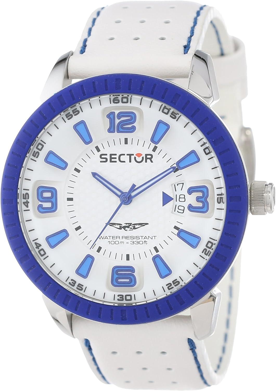 Sector R3251119002 - Reloj analógico de Cuarzo para Hombre con Correa de Piel, Color Blanco