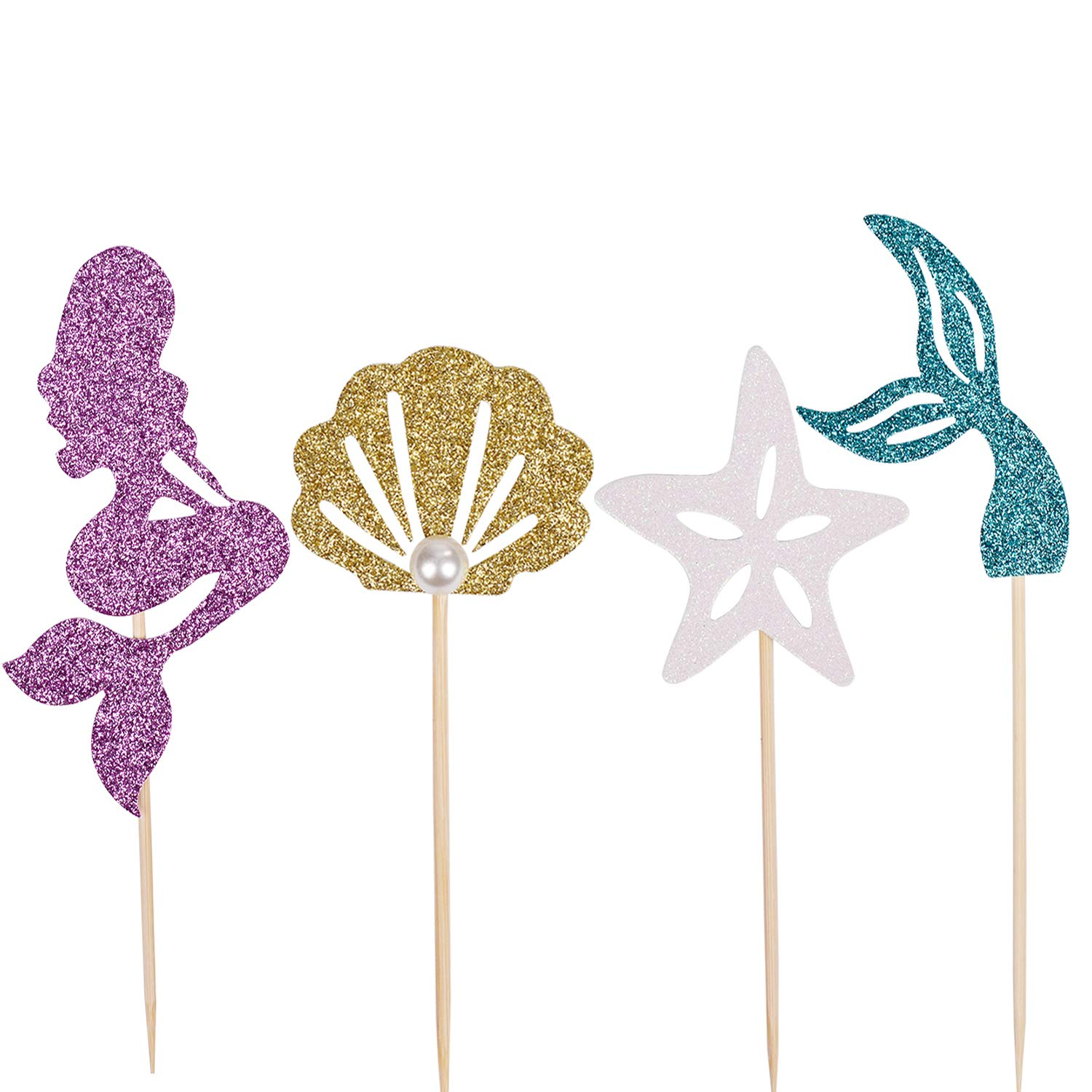 Since1989 Mermaid Cupcake Toppers Party Supplies for Baby Shower, Under the Sea, Birthday Party, 24 Packs (Toppers)