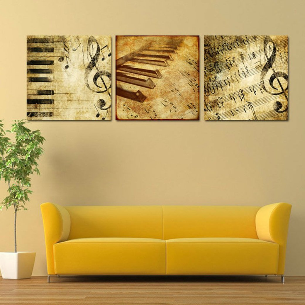 Amazon.com: Home and Office Wall Decor Canvas Print Music Note ...
