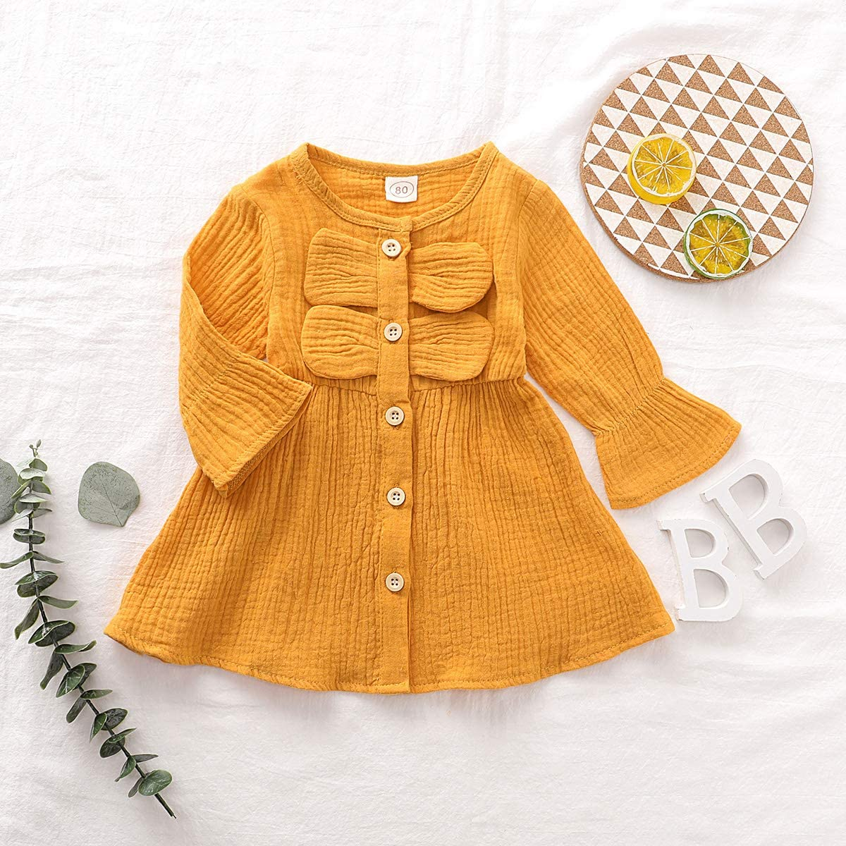 80 cm DaMohony Baby Girls Casual Princess Party Dress with Ruffles Cute Yellow
