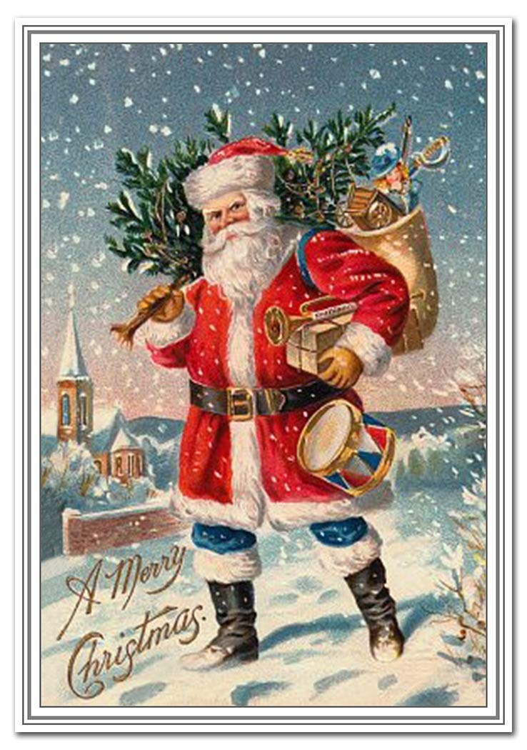 Vintage Christmas Card - Rare Old Fashioned 1900s - Santa Claus with Toys Theme - Victorian Era Edwardian Style…