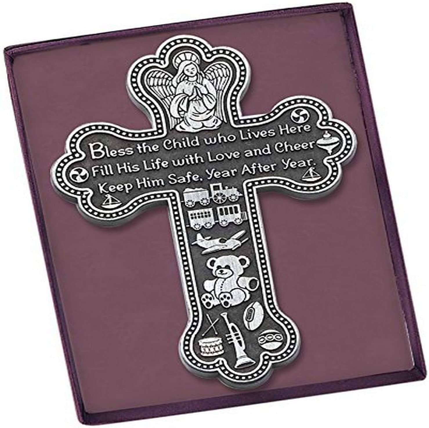 Cathedral Art (Abbey & CA Gift Bless This Boy Baby Cross, 5-1/2-Inch High, Silver
