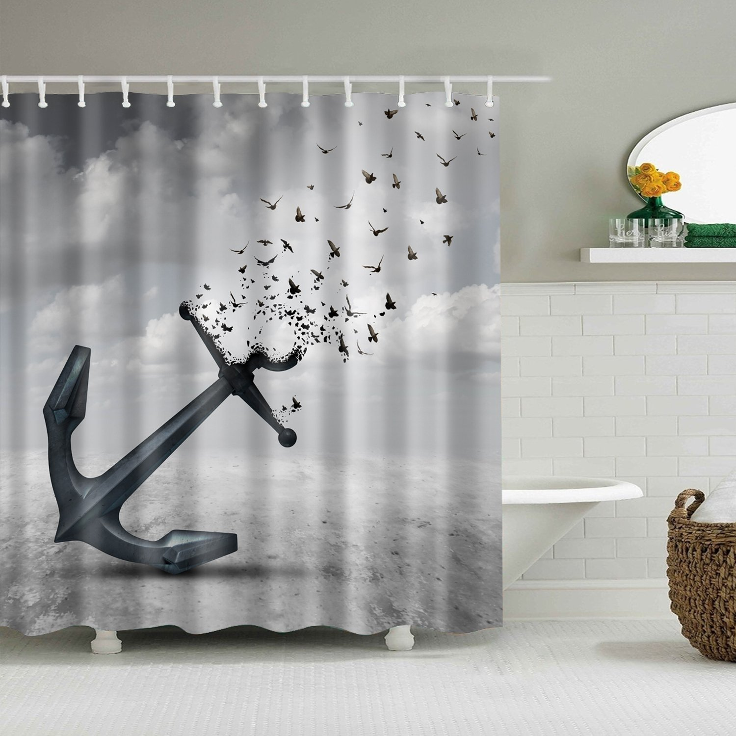 Amazon ColourLife Vintage Retro Anchor Birds Shower Curtains 72 X Inches Bathroom Decor Polyester Fabric Waterproof Mildew Resistant Bath