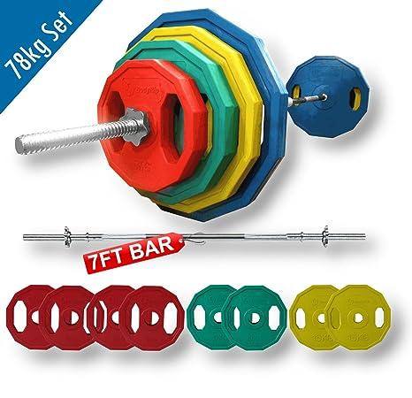 BodyRip 78 kg poligonal placas pesadas y juego de pesas estándar 213,36 cm 2
