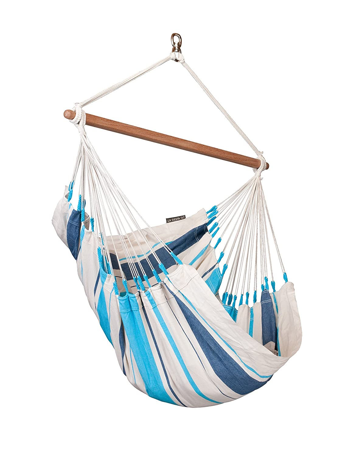 LA SIESTA Caribena Aqua Blue – Cotton Basic Hammock Swing Chair