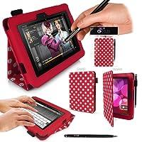 """Amazon Kindle Fire HD Tablet Case - CUSTODIA con SUPPORTO integrato - in POLKA DOT - ROSSO con BIANCO POIS ( edizione limitata ) da G-HUB® - PropUp Stand Case COPERTURA con coperchio magnetico. Adatto Amazon Kindle Fire HD Tablet Kindle Fire HD - 7"""" (17 cm) dual band, doppia antenna Wi-Fi, schermo HD, audio Dolby, 16GB o 32GB modelli - Questo pacchetto comprise BONUS: G-HUB ProPen Stylus ( STILO )"""