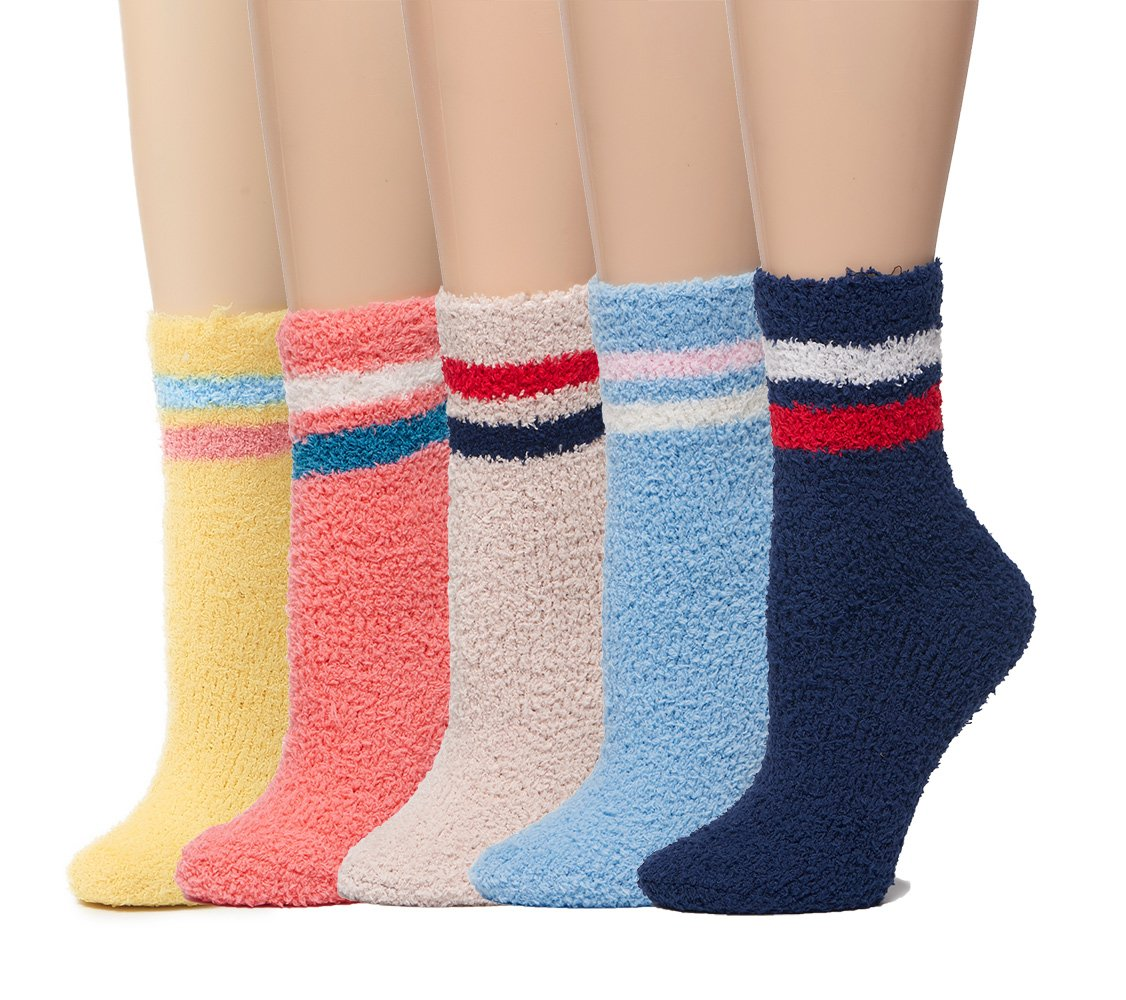 Leotruny 5-Pack Women's Winter Striped Cozy Warm Fuzzy Socks (5pairs-Multicolor)