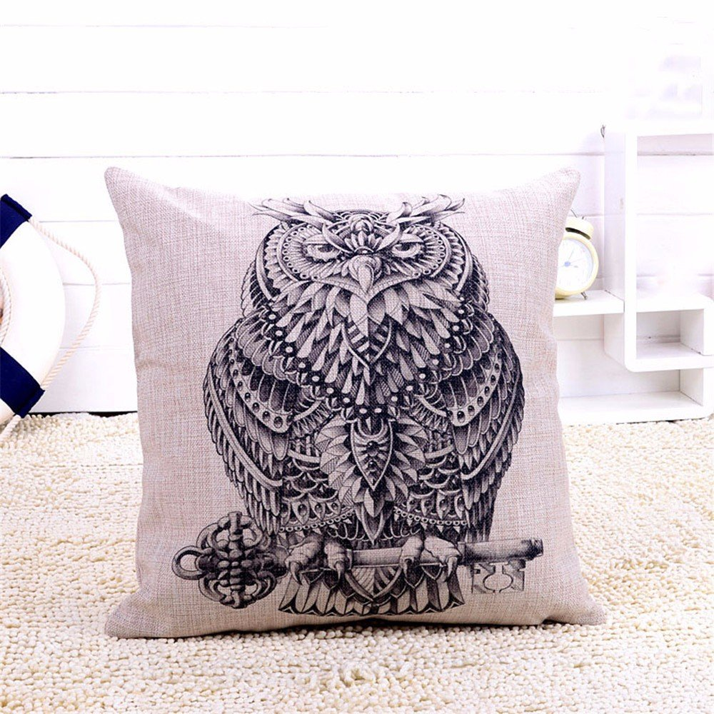 Pillow Elephant Rhino Owl Giraffe Pillow Pillow Cushion Cotton Linen Printing Animal Cushion Sofa Decorate Cushion Car Pillow Nap,A4,4545Cm