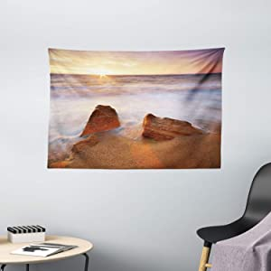 """Ambesonne Beach Tapestry, Fantasy Seascape in Exotic Hawaiian Water Sea Sky Peace Relax Theme in Nature Print, Wide Wall Hanging for Bedroom Living Room Dorm, 60"""" X 40"""", White Cream"""