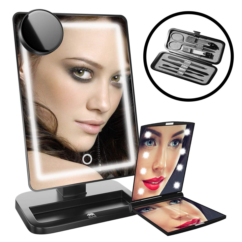 Paquete de lujo espejo de maquillaje portátil, con iluminación LED, 3en 1kit, con espejo de bolsillo bolso de mano y set de manicura, ligero para viajes, con alta definición claro cristal con luces y 10x aumentos, Touch regulable, pilas incluidas [clase