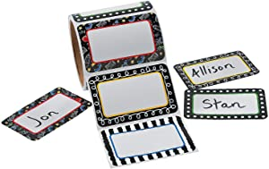 Black & White with Design Sticker Nametags (100 Pieces) Stationery, Stickers, Name Tags